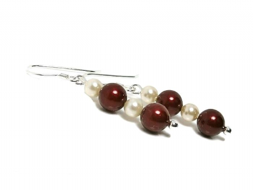 Burgundy & Ivory Cream Wedding Earrings With Swarovski Pearls